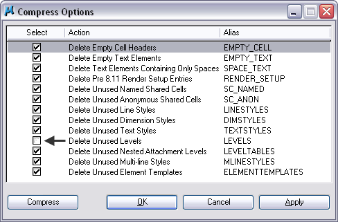 MicroStation variable MS_COMPRESS_OPTIONS