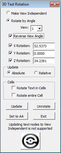 Text Rotation 3D dialog