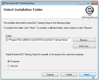 envisioncad training files install folder