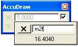 AccuDraw meters to feet Popup Calculator