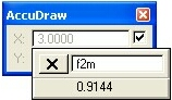 AccuDraw feet to meters Popup Calculator