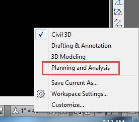 AutoCAD 2014 Planning and Analysis Workspace