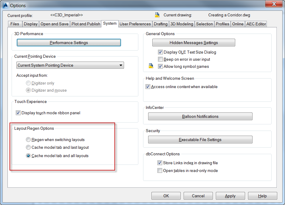Setting tab of Options Dialog Box
