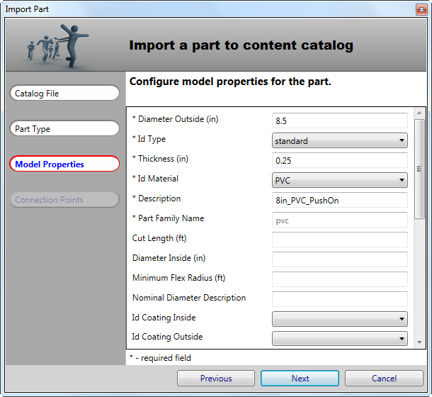 Specify Model Properties for new part