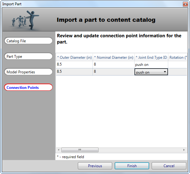 Specify connection point information