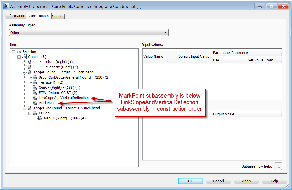Dialog Showing Incorrect Construction Order of MarkPoint Subassembly Relating to LinkSlopeAndVerticalDeflection Subassembly