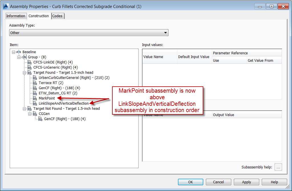 Dialog Showing Correct Construction Order of MarkPoint Subassembly Relating to LinkSlopeAndVerticalDeflection Subassembly