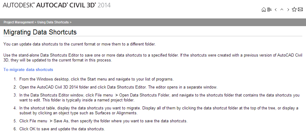 Autodesk Help File on Migrating Data Shortcuts