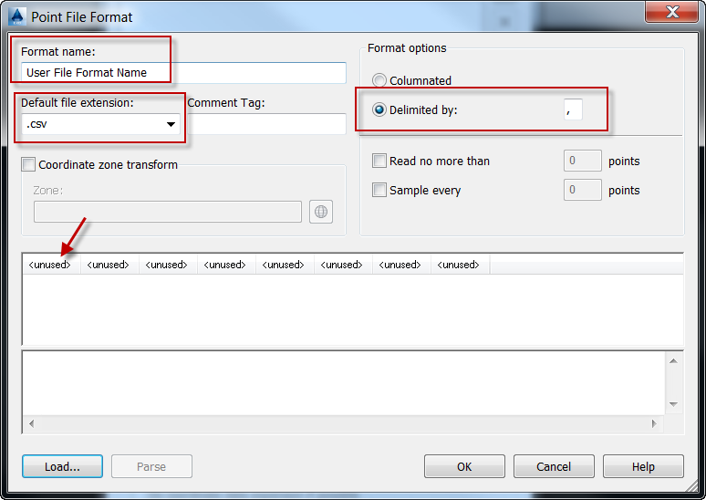 Setting File Format Name, File extension, Delimiter, and Fields