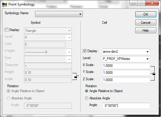 inroads point symbology custom arrows view vertical