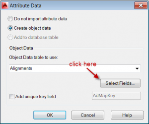 attribute data dialog Civil 3D