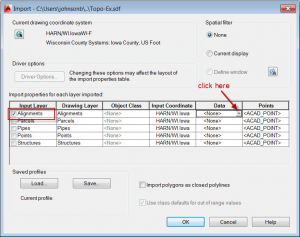 map import dialog for Civil 3D