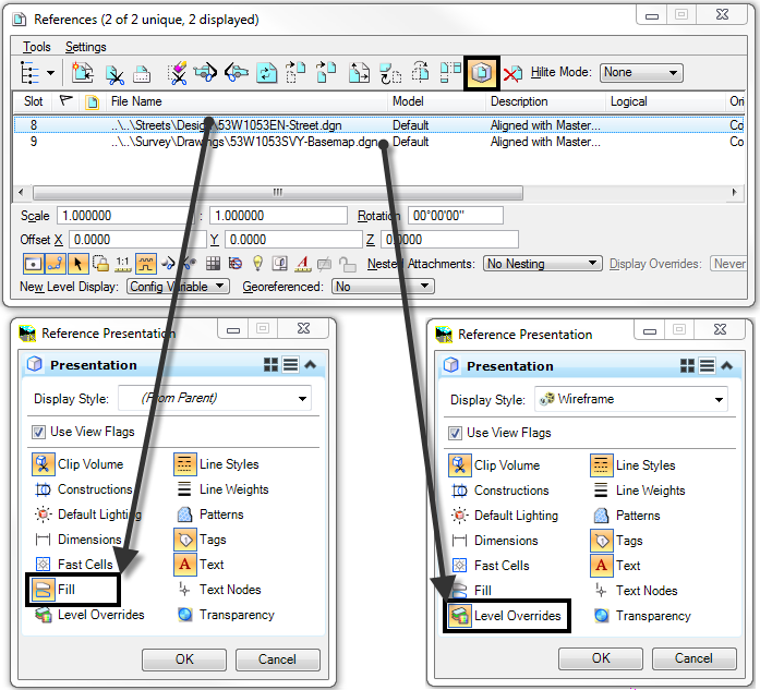 Set Reference Presentation View Flags Dialog MicroStation