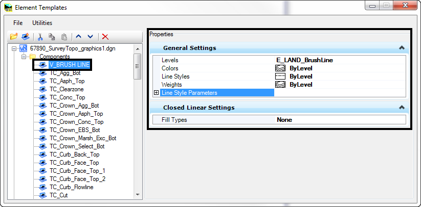 openroads element templates dialog