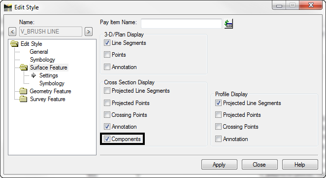 openroads feature style edit dialog