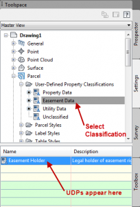 Toolspace and User-Defined Properties