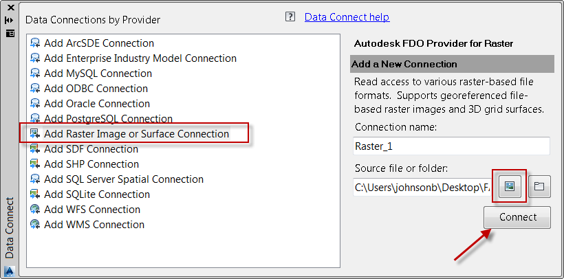Add Raster Image or Surface Connection