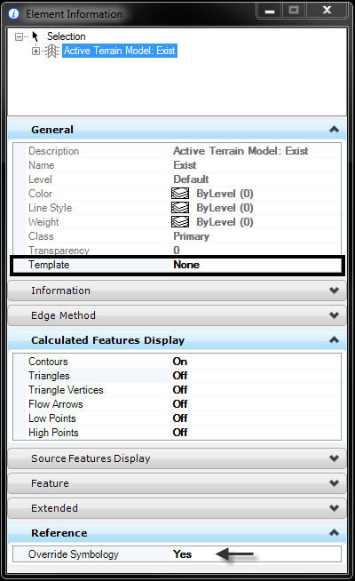 openroads-terrain reference override symbology template