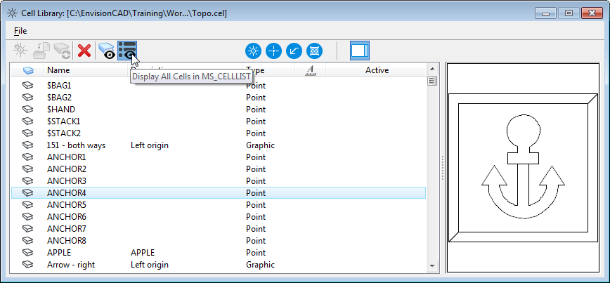 MicroStation CONNECT Cell Dialog MS_CELLLIST