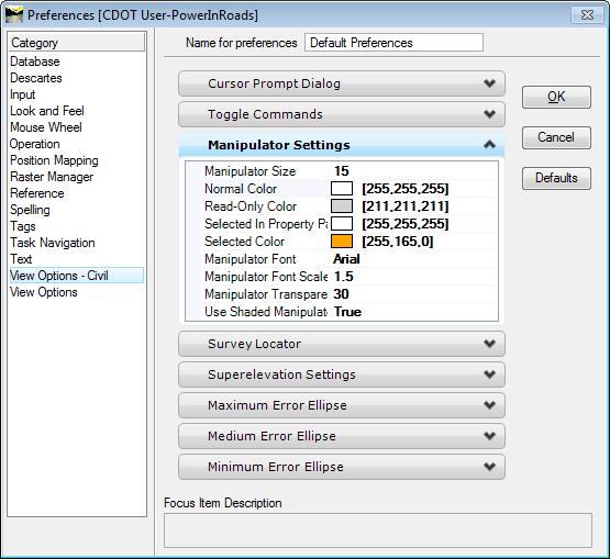 OpenRoads Manipulator Color Preferences Dialog