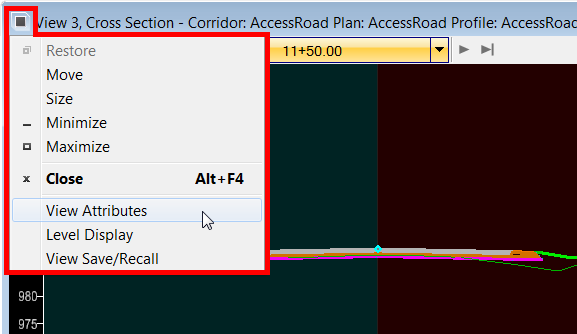 OpenRoads View Attribs Cross Section Header Icon