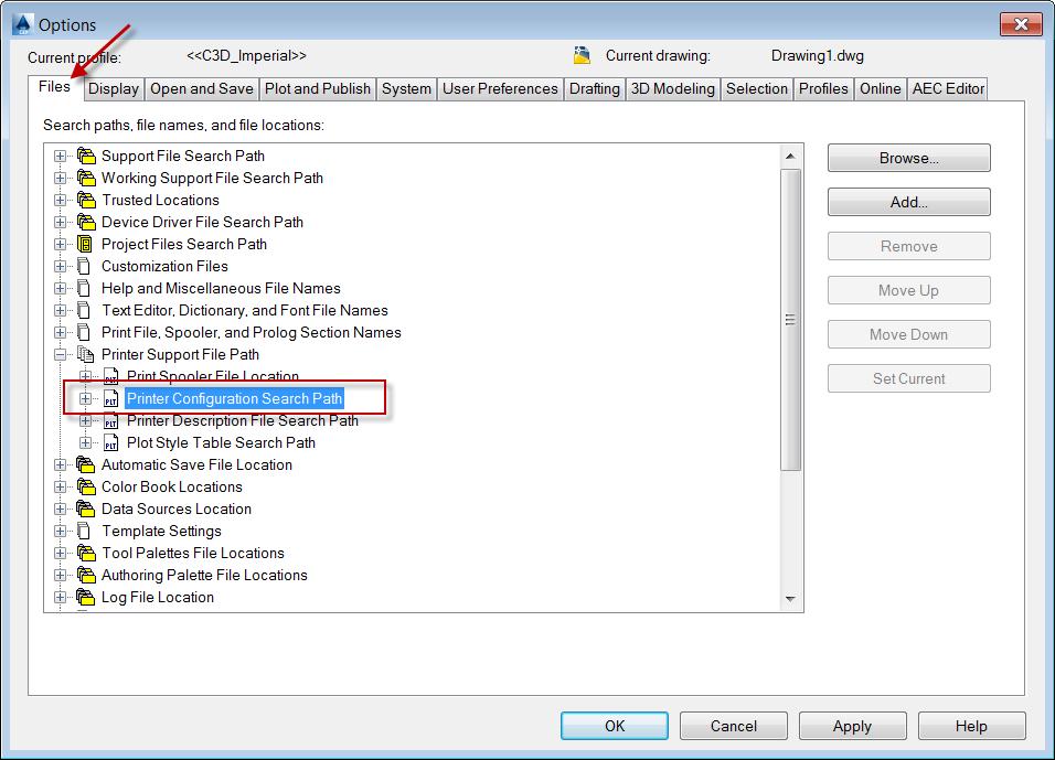 autocad-civil3d-printer-configuration-search-path