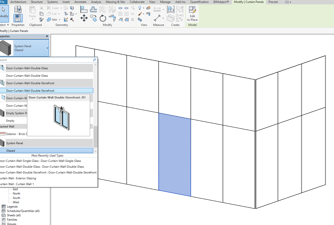 In the properties tab to the left select the System Panel Glazed to open the drop-down and scroll down to the door you want. The door will take up the space ...  sc 1 st  EnvisionCAD & Revit Tip: Placing Curtain Doors in Revit u2013 EnvisionCAD